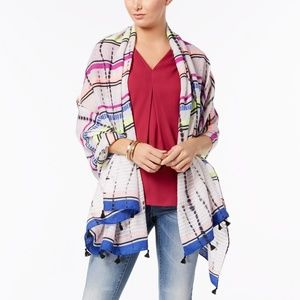 INC Striped Tassel Wrap & Sarong Coverup Scarf